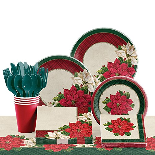 Poinsettia Accent Plate (Creative Converting Tableware Kit for 8, Plaid Poinsettia)