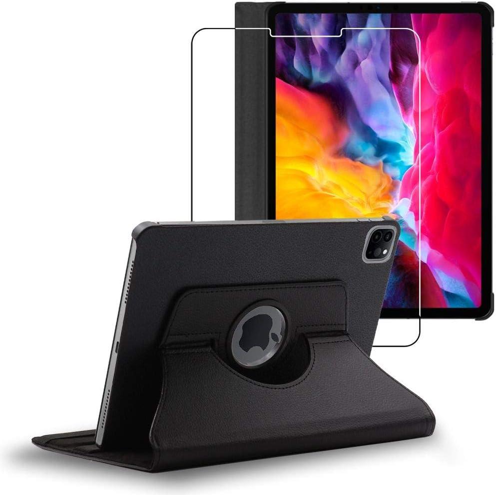 ebestStar - Funda Compatible con iPad Air (2020) 10.9, iPad Air 4 Carcasa Cuero PU, Giratoria 360 Grados, Función de Soporte, Negro + Cristal Templado Pantalla [iPad: 247.6 x 178.5 x 6.1 mm, 10.9'']