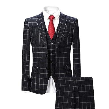 Youthup Herren Anzug Kariert 3 Teilig Retro Vintage Anzugjacke Weste