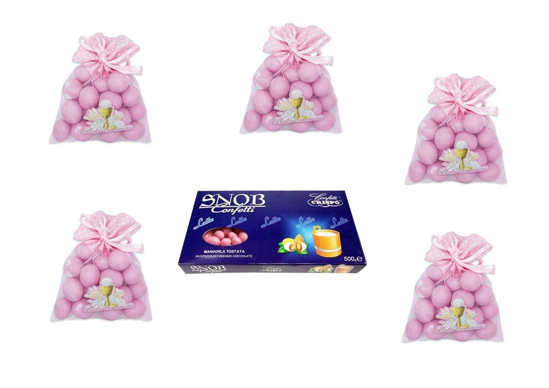 24 bolsas de tul de primera comunión rosa, 1 kg de confeti ...
