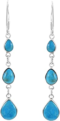 Blue Turquoise Sterling Silver Earrings 925 Dangle Turquoise Stone Blue Pierced Earrings Genuine Turquoise Jewelry Turquoise Gems Boho 925