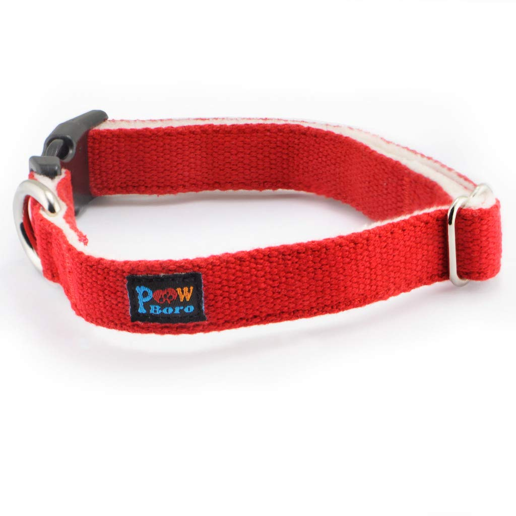 Red M Red M PowBgold Adjustable Dog Cat Collar, 100% Pure Cotton Lining, Great for Short-Haired Dogs & Cats, Deluxe and Dapper (M, Red)