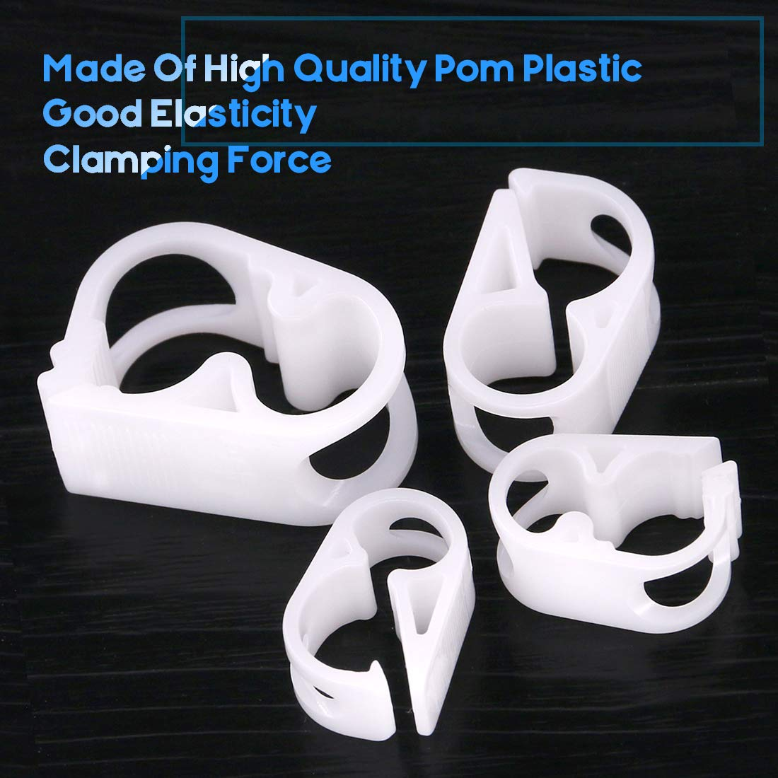 Glarks 40-Pieces 4 Szie Shut Off Plastic Tubing Hose Clamps Single Position and Adjustable Open to Complete Closure Clamps for Tubing 1//8-1//2