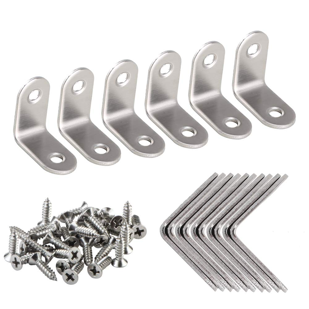 Anpatio Corner Braces 16pcs Stainless Steel Joint Right Angle Bracket Fastener Heavy Duty Metal Hardware L Shaped 90 Degree Shelf Support 0.08' Thickness for Furniture