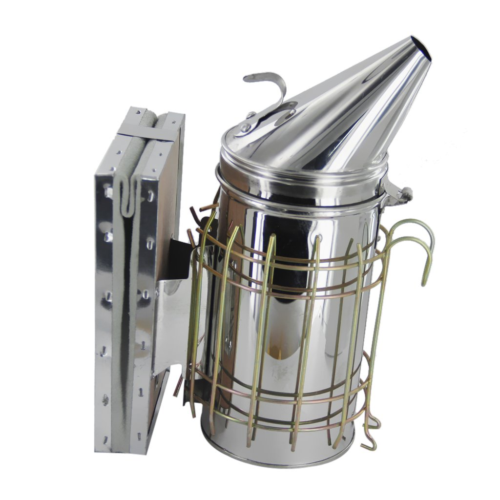 Baosity Bee Hive Smoker Stainless Steel W/Leather Heat Shield Beekeeping Equipment by Baosity (Image #3)