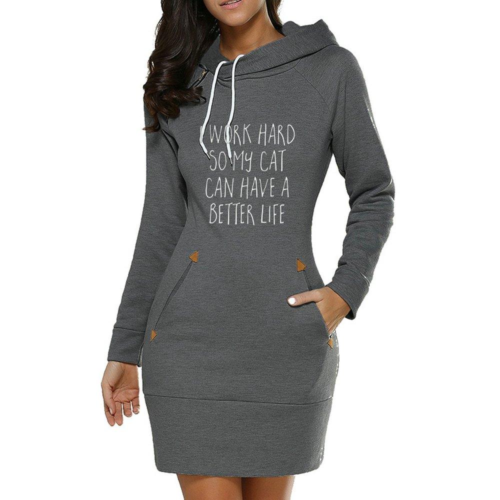GH Cat Better Life Women Fleece Long Sleeve Hooded
