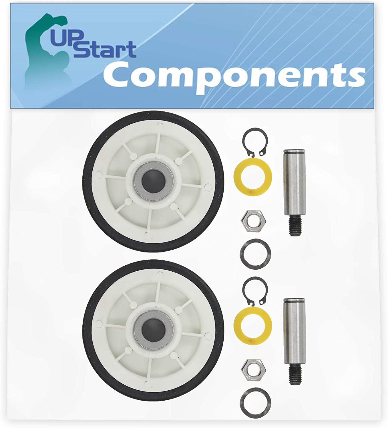 2-Pack 12001541 Drum Support Roller Kit Replacement for Maytag MDE2600AYW Dryer - Compatible with 303373 Dryer Drum Roller Wheel - UpStart Components Brand