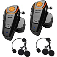 1000m Bluetooth Headset Interphone Moto Universal Waterproof Headphone pour 2 ou 3 pilotes et audio pour Walkie Talkie GPS MP3 Player,mains libres et radio FM (2 pièces)