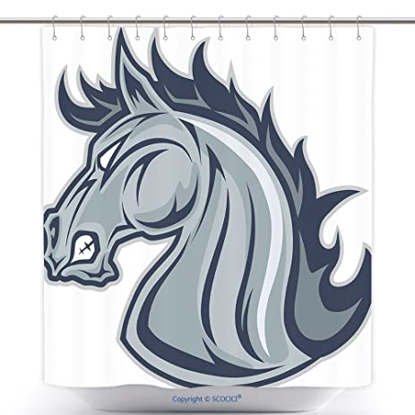 Funky Shower Curtains Horse Or Mustang Head Mascot 410350756 Polyester Bathroom Curtain Set With Hooks
