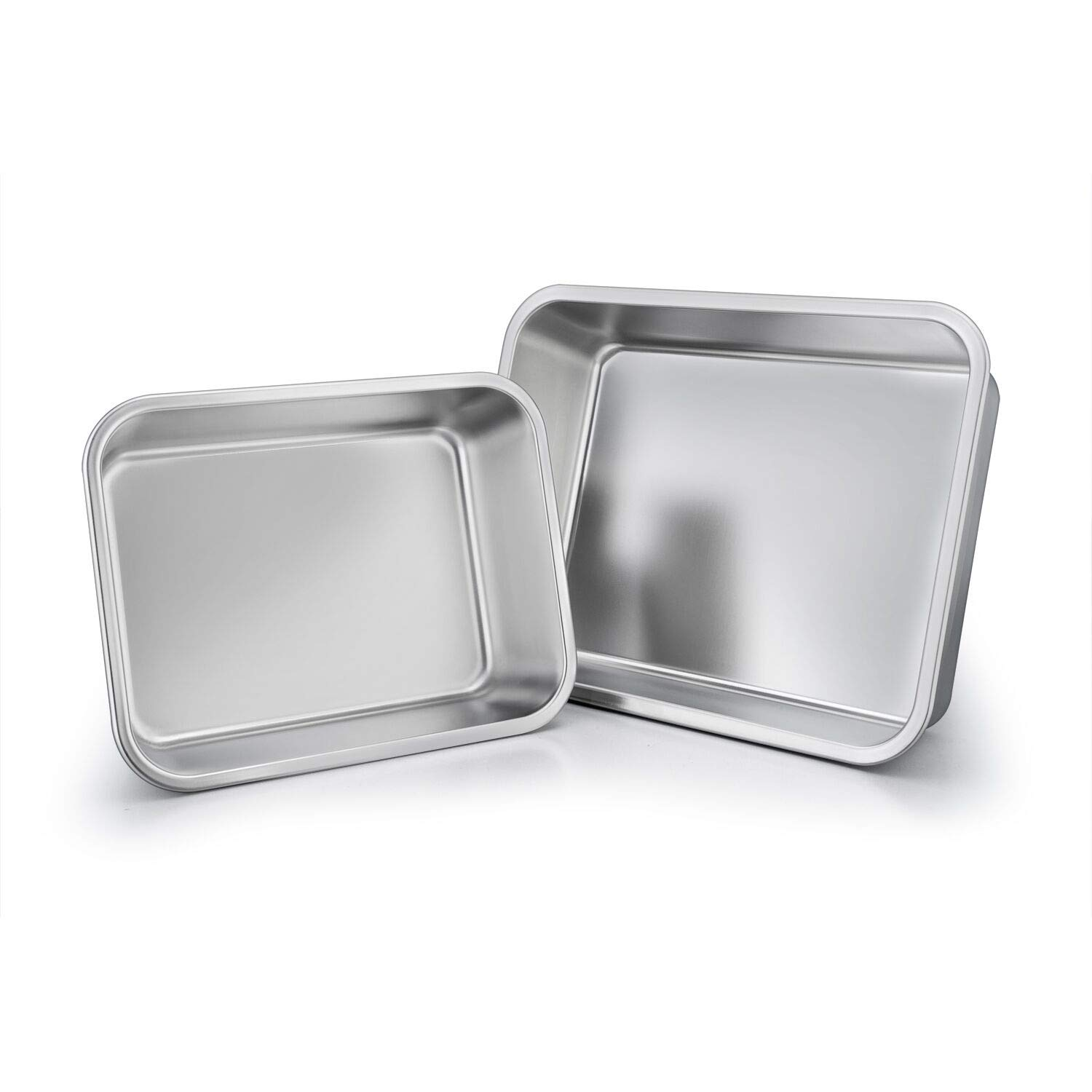 TeamFar Lasagna Pan Set of 2, Brownie Pan Rectangle Cake Pan Stainless Steel, Heavy Duty & Healthy, Easy Clean & Dishwasher safe, Brushed Surface-13 & 10 inch by TeamFar (Image #2)