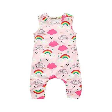 00d24a9dbe84 Newborn Infant Toddler Baby Girls One Piece Romper Jumpsuit Cuekondy Cute  Rainbow Clouds Print Bodysuit Summer