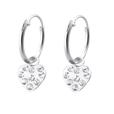 Small Sterling Silver Hoop Earrings with Dangling Love Heart TGtT9s