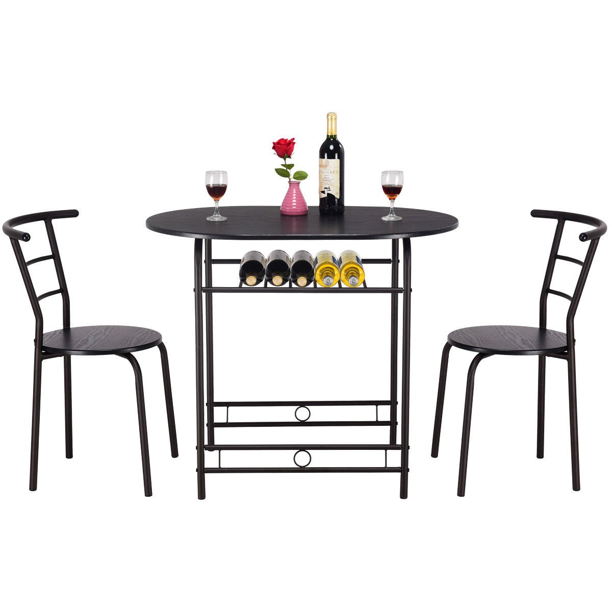 Giantex 3 PCS Dining Table Set w/1 Table and 2 Chairs Home Restaurant Breakfast Bistro Pub Kitchen Dining Room Furniture (Black) by Giantex (Image #7)