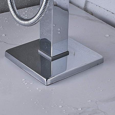 SUGU . Grifo mezclador para ba/ñera y ducha con LED en cascada con cabezal de ducha de mano