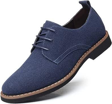 Zapatos Casuales con Cordones de Cuero de Gamuza clásico para Hombre Zapatos Bajos de Terciopelo de Negocios británicos Transpirables Oxford