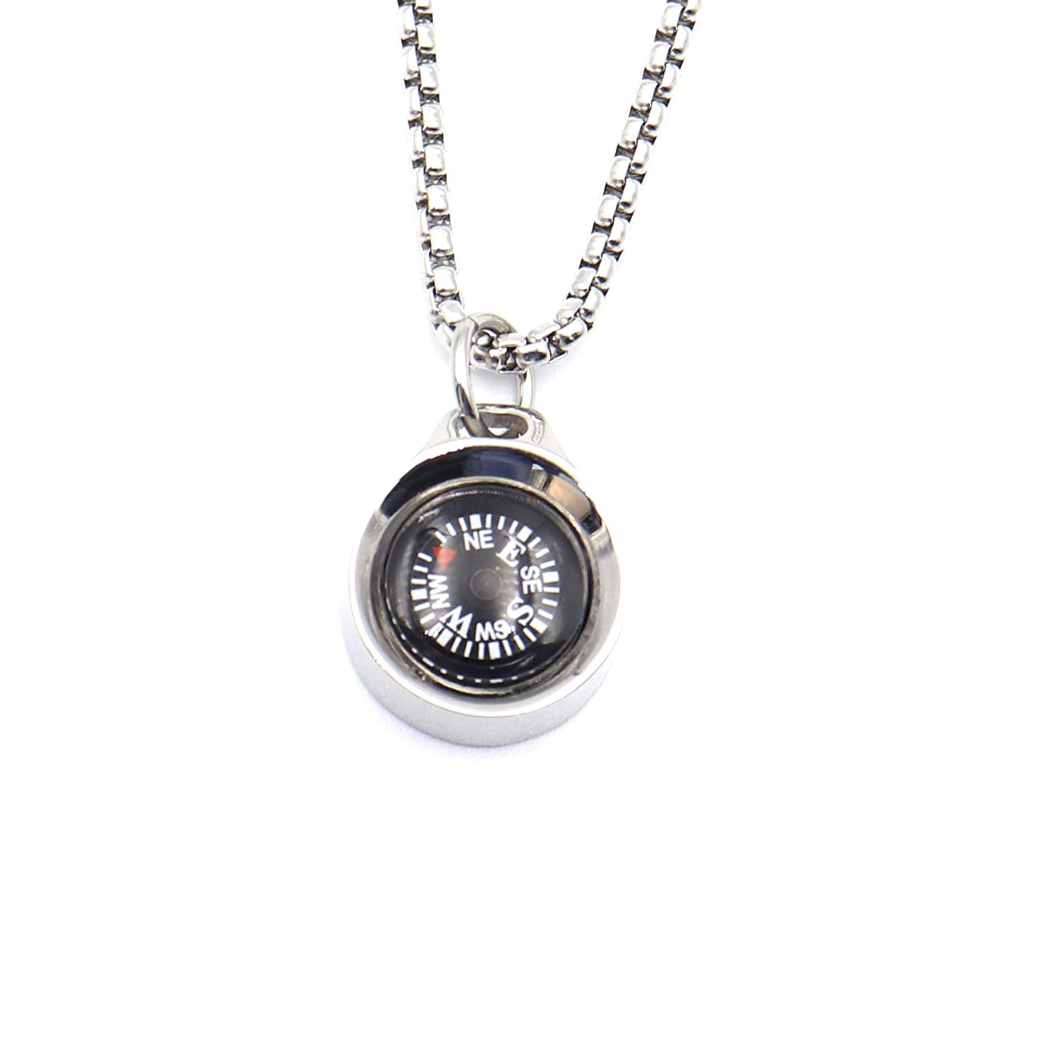 DETUCK TM Silver Compass Necklace, Navigation Compass Necklace for Women Men Best Friends, Necklace Compass Stylish Jewelry Gift Wrap