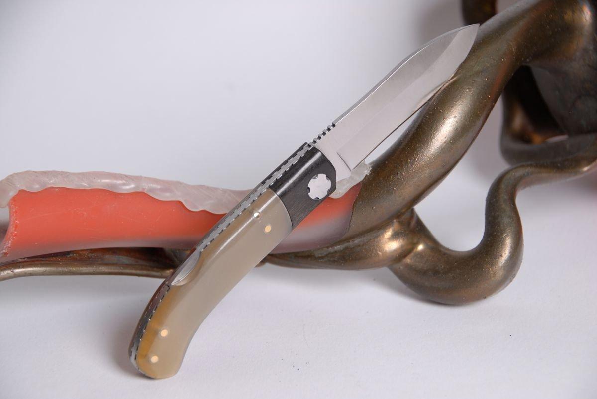 Navaja Joker 8 cm, madera de ébano/puntiaguda Cuerno ...