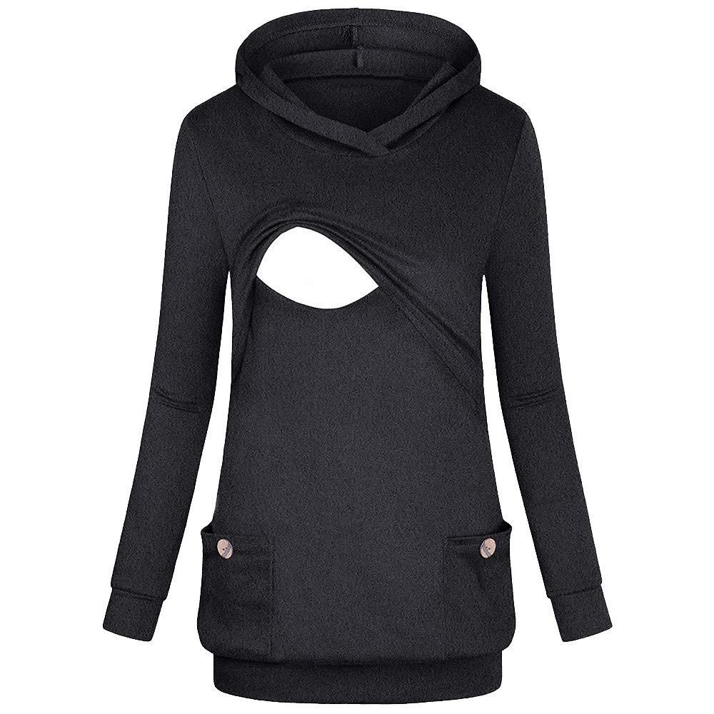 Women's Nursing Hoodie Long Sleeves Tops Breastfeeding Hoodie Sweatshirt Blouse T Shrit Length:Regular