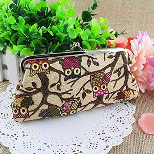 Clutch Clearance Beige Noopvan Purse Hasp Small 2018 Bags Pockets Wallet Style Handbags Fashion Owl Coin Lovely Women Wallet Vintage UZZ4n5qw