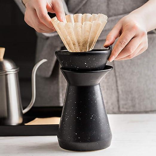 YJF Cafetera de cerámica vierte sobre 50 filtros de Papel: Amazon ...