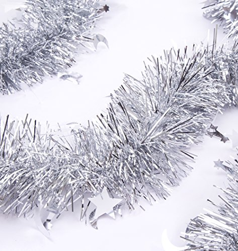 iPEGTOP 3 Pcs x 6.6 Ft Christmas Tinsel Garland, Sparkle Holiday Party Ceiling Tree Decorations Star Moon Hanging Ornaments, Silver Tinsel Christmas Trees