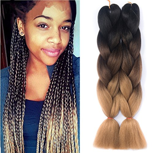 Amecire 24 '' 3 Tone Ombre Jumbo Braid Hair Extension 1 Pcs/Lot 100g/pc Twist Braiding Hair Synthetic Hair Extensions ( Black to Dark Brown to Light Brown )