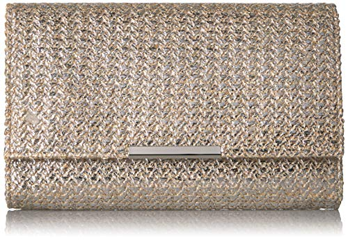 - Jessica McClintock Women's Nora Gold Metallic Large Flap Clutch