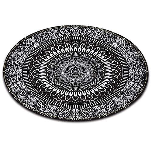 LB Mandala Style Round Black White Rug Indian Hippie Rug for Living Dining Room,Non Slip Flannel Microfiber Bedroom Carpet Floor Mat Home Decor 2