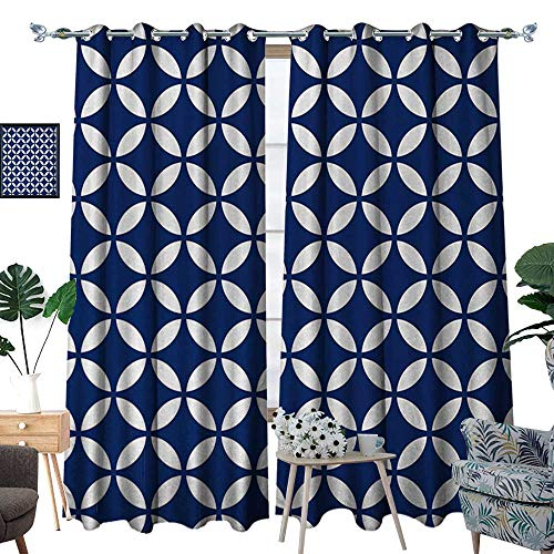 - RenteriaDecor Navy Thermal Insulating Blackout Curtain Vintage Circles with Overlapping Rounds Oval Figures Old Fashion Graphic Art Patterned Drape for Glass Door W84 x L108 Royal Blue White