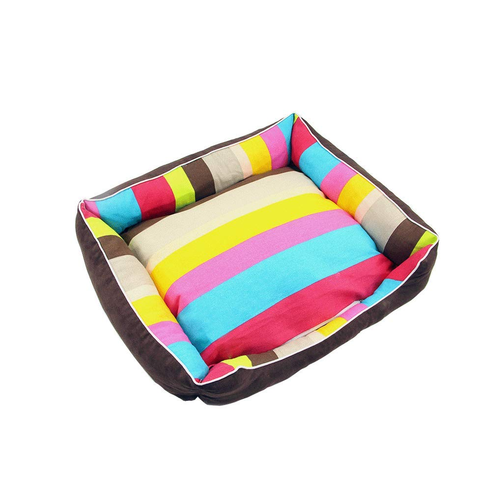 M WANGXIAOLIN Pet nest, rainbow, kennel, thick stripes, four seasons universal, square, cat kennel, memory cotton, with zipper, removable and washable (4 sizes) (Size   M)