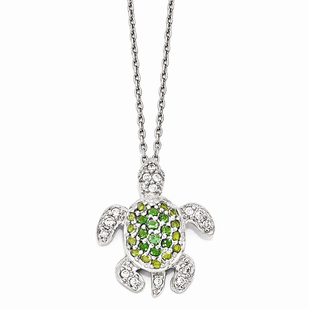 ICE CARATS 925 Sterling Silver Glasssimulatedperidot/simulatedemeralz Turtle 18in. Chain Necklace Pendant Charm Cz Sea Life Fine Jewelry Ideal Gifts For Women Gift Set From Heart