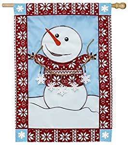 Evergreen Ugly Sweater Snowman Applique House Band, 71 x 111 cm