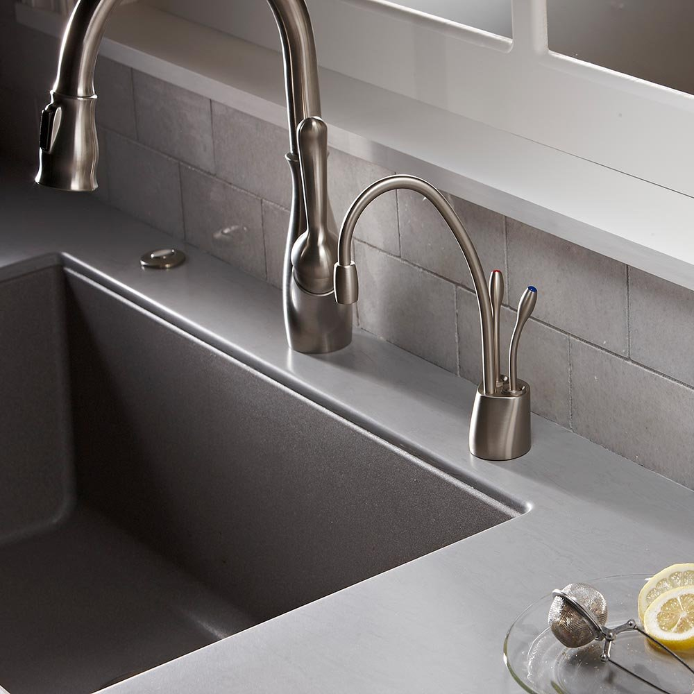 InSinkErator F-HC1100SN Indulge Contemporary Hot and Cold Water Dispenser Faucet, Satin Nickel
