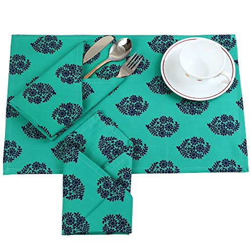 Print Placemat Set (Reversible Printed Cotton Placemats And Napkins Set of 6, Indian Décor)