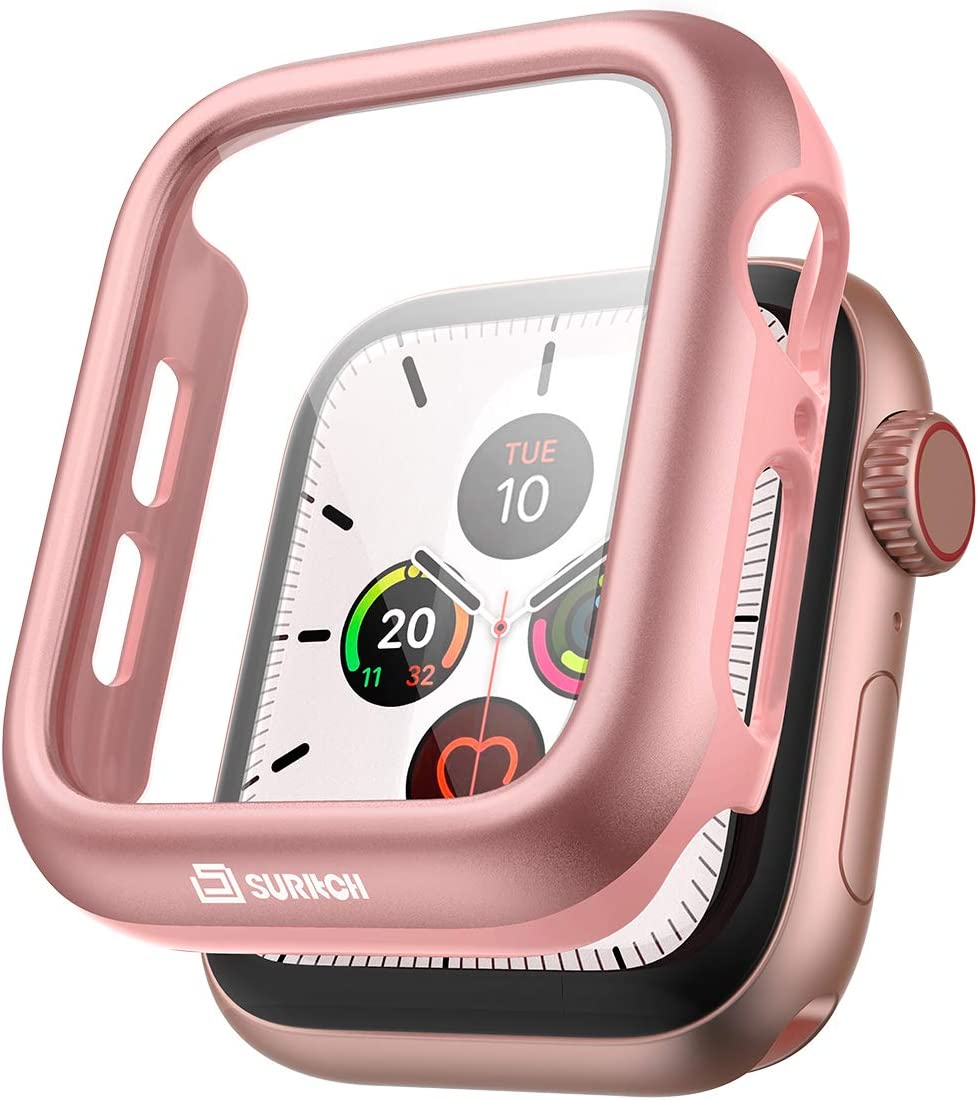 SURITCH Case for Apple Watch Series 6/5/4/SE 40mm with Built in Tempered Glass Screen Protector HD Clear Shockproof Slim Bumper Hard PC Full Protective Cover for iwatch Series 6/5/4/SE(Rose Gold)