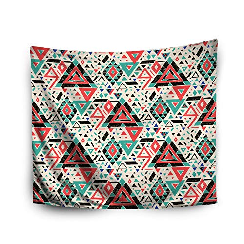 Jacrane Tapestry Wall Hanging with 60x80 Inches Halloween Geometric Folklore Hipster Ornament a Triangle Tribal Ethnic Art Tapestries for Bedroom Living Room Home Decor Wall Hanging Tapestries ()