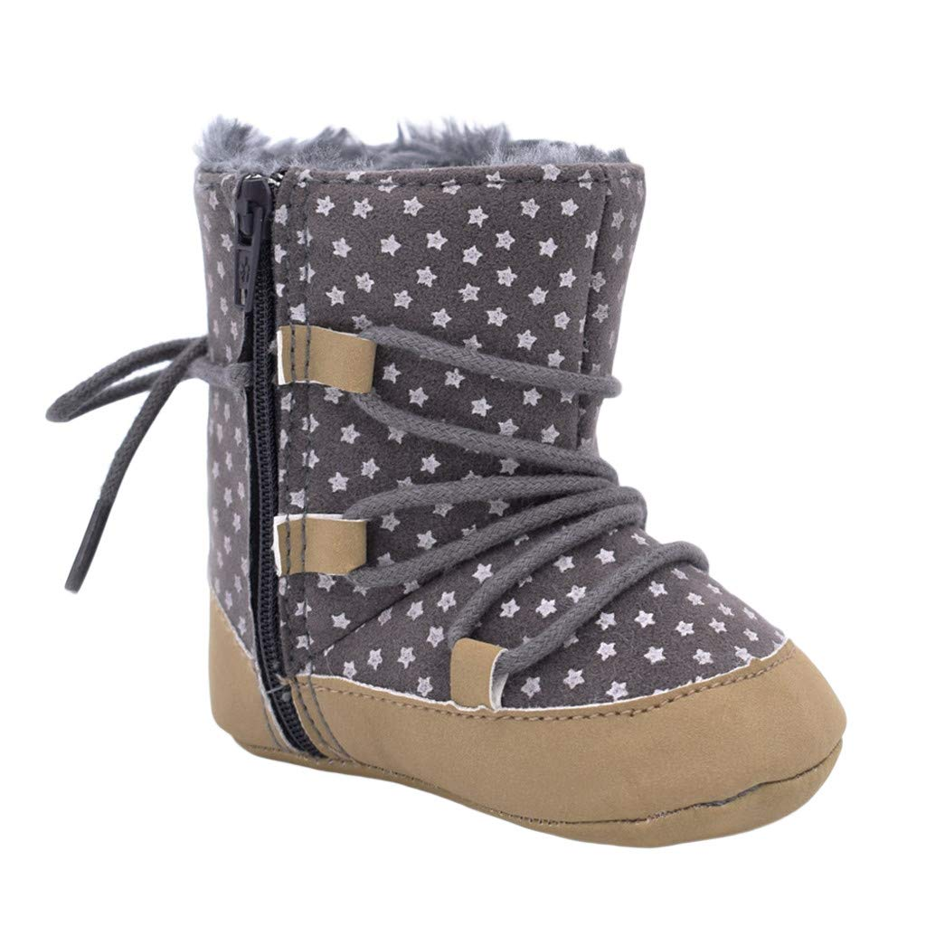 Toddler Newborn Baby Girls Winter Warm Fur Padded Snow Boots Little Kids Stars Print First Walkers Booties Crib Shoes