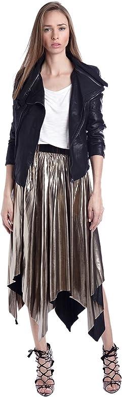 Q2 Mujer Falda plisada metalica dorado con picos - XS - Dorado ...