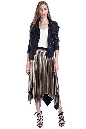 Q2 Women S Gold Metallic Pleat Midi Skirt Xs Gold Amazon Co Uk