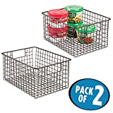 mDesign Kitchen Pantry Bathroom Office Garage Freezer Food Shelf Storage Organizer Heavy Duty Metal Wire Mesh Bins Baskets with Handles, 12'' x 9'' x 6'' - Set of 2, Bronze
