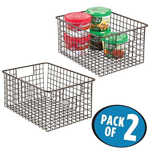 mDesign Kitchen Pantry Bathroom Office Garage Freezer Food Shelf Storage Organizer Heavy Duty Metal Wire Mesh Bins Baskets with Handles, 12″ x 9″ x 6″ – Set of 2, Bronze