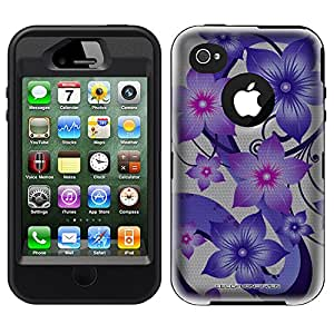 Otterbox Defender Purple Hibiscus on White Case for iPhone 4