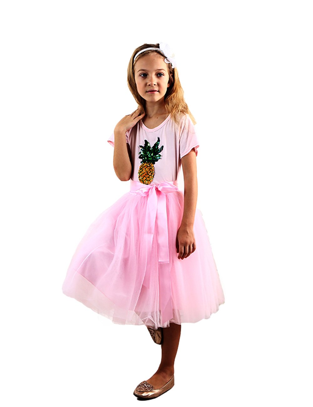 VIYOO Girls Casual 4-Layer Tulle Tutu Puff Mid-Calf Long Skirt Age 3-11