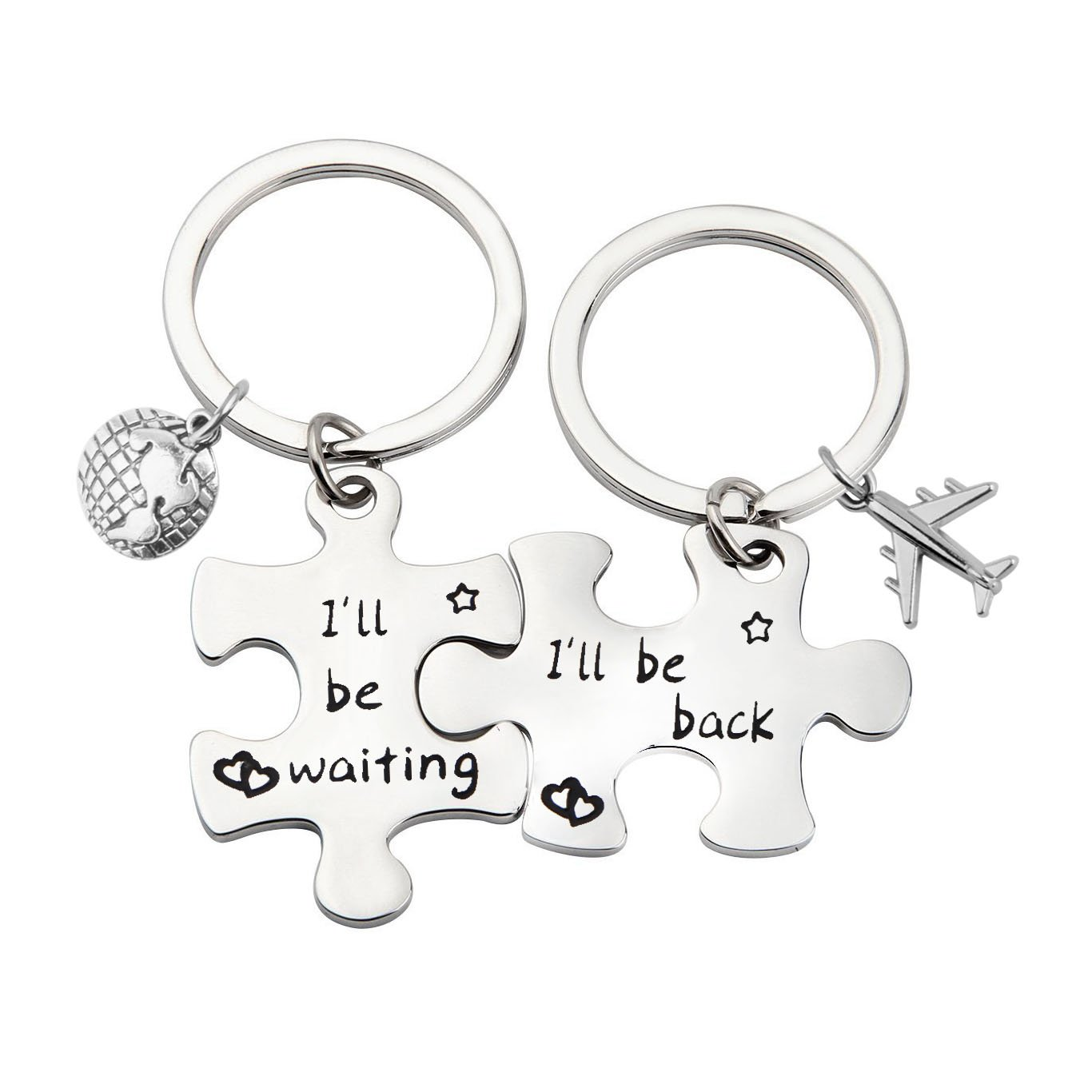 Puzzle Keychain Couples Set Long Distance Relationships Gifts For Couples Love Friendship Gift (Silver)