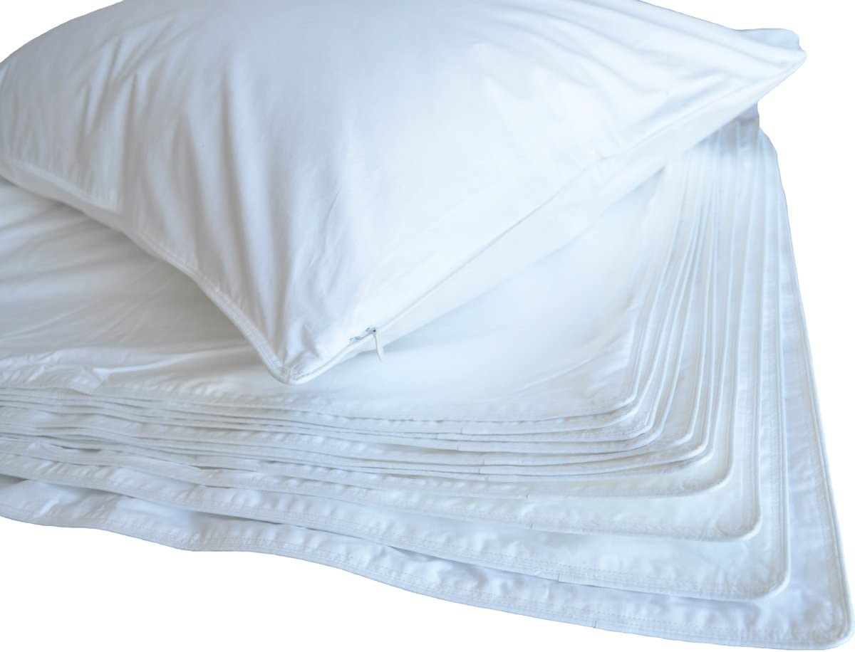 233TC WHITE PILLOW PROTECTOR WITH ZIPPER,SET OF 12, Standard