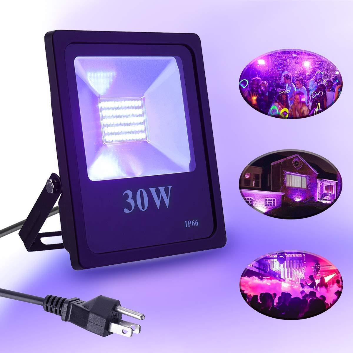 UV Black Light Elfeland UV LED Flood Lights IP66 Waterproof Blacklight 30W Ultra Violet Stage Lighting for Blacklight Party Supplies, Neon Glow, Body Paint, Fluorescent Poster (85V-265V AC) ELFELANDhoasupic1189