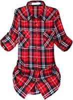 Women's Mid-Long Roll Up Sleeve Plaid Flannel Shirt