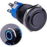 "Ulincos Latching Push Button Switch U19C2 1NO1NC SPDT ON/Off Black Metal Shell with Blue LED Ring Suitable for 19mm 3/4"" Moun"