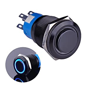 """Ulincos Latching Push Button Switch U19C2 1NO1NC SPDT ON/Off Black Metal Shell with Blue LED Ring Suitable for 19mm 3/4"""" Mounting Hole (Blue)"""