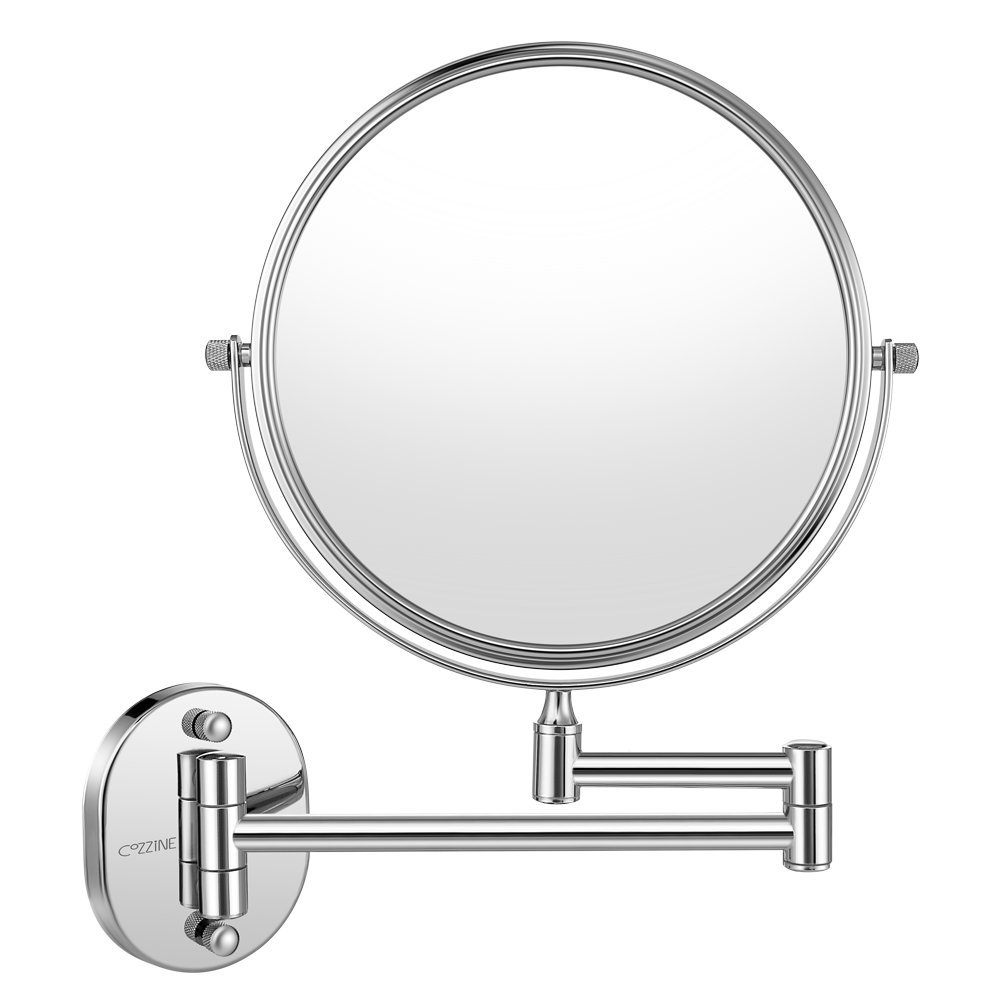 Cozzine Wall Mount Makeup Mirror, 10X Magnifying Two Side Vanity Extendable Bathroom Mirror, Chrom Finish (10X, Silver) by Cozzine